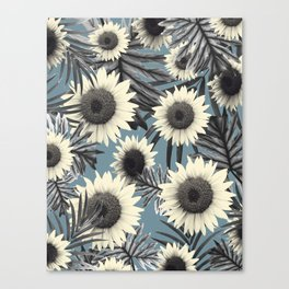 Tropical Sunflower Jungle Leaves Pattern #2 #tropical #decor #art #society6 Canvas Print