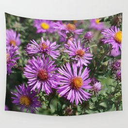 Autumn Amethyst - New England Aster flowers Wall Tapestry