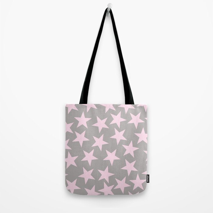 Pink stars on grey background on #Society6 Tote Bag
