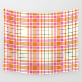 Summer Plaid Pink Orange Green White Wall Tapestry