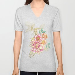 Gilded Peonies and Cranes Unisex V-Neck