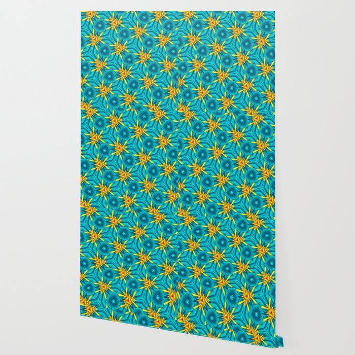 Birds of Paradise Floral Pattern \\ Unique Tropical Vibes \\ Green Yellow Blue Orange Color Scheme Wallpaper