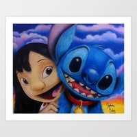 lilo and stitch Art Prints featuring Lilo and Stitch by Iwilldrawyourface