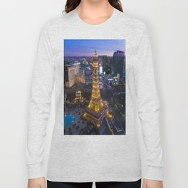 Aerial view of the Eiffel tower in Las Vegas Long Sleeve T-shirt