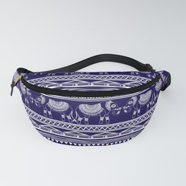 White and Navy Blue Elephant Pattern Fanny Pack