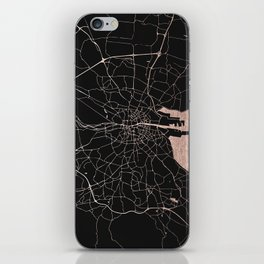 Black on Rosegold Dublin Street Map iPhone Skin
