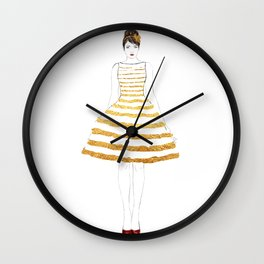 Fashion illustration stripes dress in gold Wall Clock