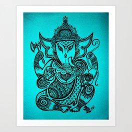 Turquoise Ganesha Art Print