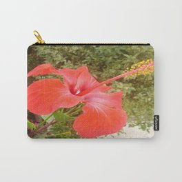 Beautiful Red Hibiscus Flower With Garden Background Carry-All Pouch