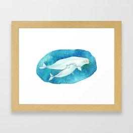 Cute Beluga whales Framed Art Print