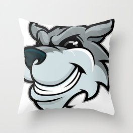 Funny cartoon wolf Throw Pillow