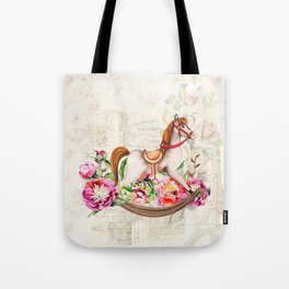 Vintage Collage and Rocking Horse Tote Bag