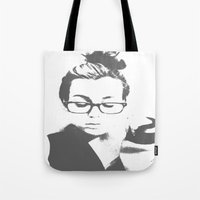 lorde Tote Bags featuring White Teeth Teen by Paxton Keating