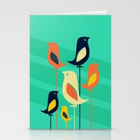 mid century Stationery Cards featuring Mid Century Birds by Sam Osborne