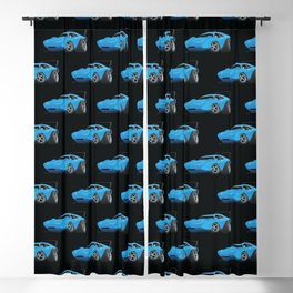 Classic American Winged Muscle Car Cartoon Blackout Curtain