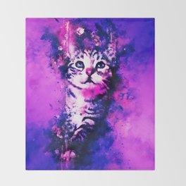 pianca baby cat kitten splatter watercolor purple pink Throw Blanket