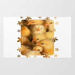 Clutch of Yellow Fluffy Chicks With Decorative Border Rug