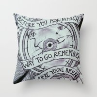 compass Throw Pillows featuring COMPASS by Gabrielle Wall
