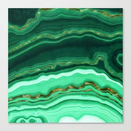 Gold And Malachite Marble Canvas Print