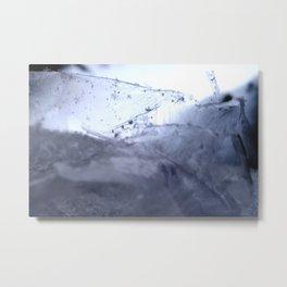Tiny Snowflakes on Ice Metal Print