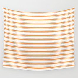 Bright Orange Russet Mattress Ticking Wide Striped Pattern - Fall Fashion 2018 Wall Tapestry