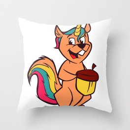 Unicorn Squirrel Girl Women Throw Pillow