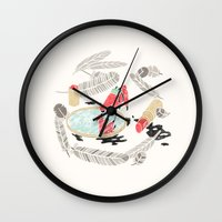 backpack Wall Clocks featuring Pretty Miniunilamacorn by Thoka Maer