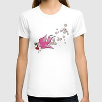 swallow T-shirts featuring Pink Swallow by Jelly Roger