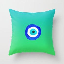 Single Evil Eye Amulet Talisman Ojo Nazar - ombre lime to tuquoise Throw Pillow