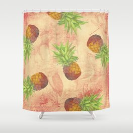 Retro Vintage Pineapple with Grunge Animals Background Shower Curtain