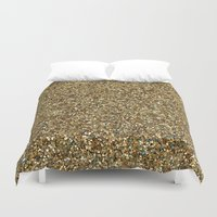 gold glitter Duvet Covers featuring Gold Glitter by Katieb1013