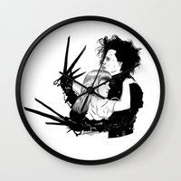 edward scissorhands Wall Clocks featuring Edward Scissorhands by Gregory Casares