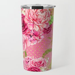 Pink & Gold Vintage Floral Pattern Travel Mug