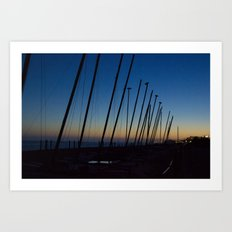 Boats in The Night Art Print