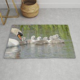 Swan and cygnets Rug