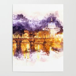 Holy Angel Bridge and St. Peter's Basilica Poster