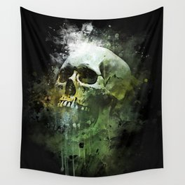 Splashed watercolor skull painting | let's get messy! Wall Tapestry