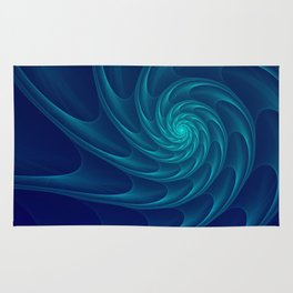 Aqua Blue Nautilus Sea Shell Rug
