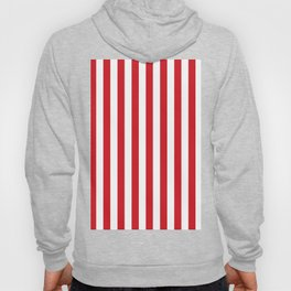 Narrow Vertical Stripes - White and Fire Engine Red Hoody