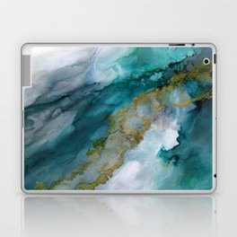 Wild Rush - abstract ocean theme in teal gray gold, marble pattern Laptop & iPad Skin