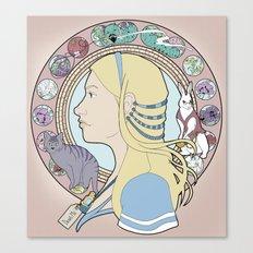 Alice in Wonderland Art Nouveau  Canvas Print