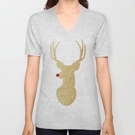 Rudolph The Red-Nosed Reindeer | Gold Glitter Unisex V-Neck
