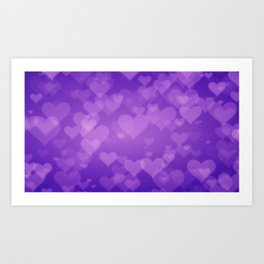 Soft Purple Hearts On Graduated Background. Valentines Day Concept Art Print