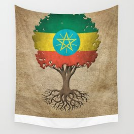 Vintage Tree of Life with Flag of Ethiopia Wall Tapestry