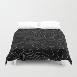 Black Abstract Topography Duvet Cover