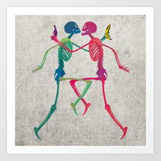Skeleton Crush with Banana n Gun Art Print
