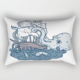 Kraken Attacking Sailing Galleon Doodle Art Color Rectangular Pillow