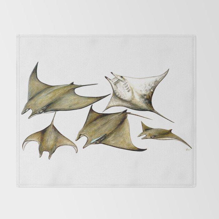 Chilean devil manta ray (Mobula tarapacana) Throw Blanket