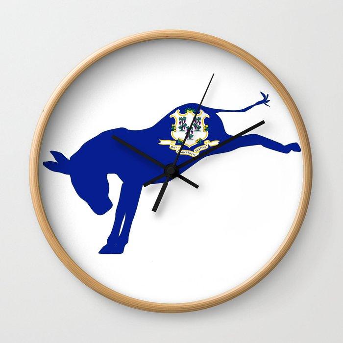 Connecticut Democrat Donkey Flag Wall Clock
