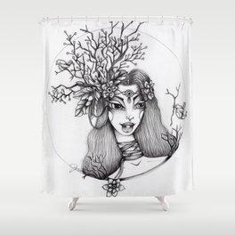 JennyMannoArt Graphite Illustration/Giselle the woodland fairy Shower Curtain